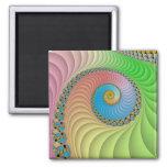 Pastel Spiral Fractal Refrigerator Magnet