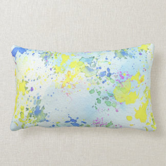 Pastel Splatter Paint Lumbar Pillow