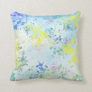 Pastel Splatter Paint Throw Cushion