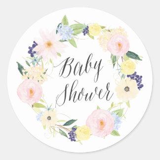 Pastel Spring Floral Wreath Baby Shower Stamp Round Sticker