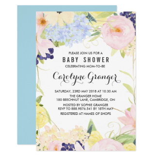 Pastel Spring Flowers Watercolour Baby Shower Card