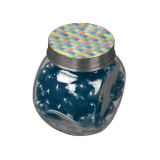 Pastel squares glass candy jar