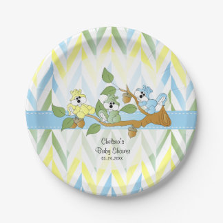 Pastel Squirrel Baby Boy Shower 7 Inch Paper Plate