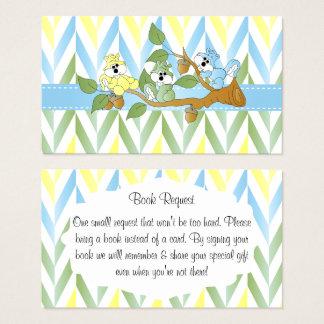 Pastel Squirrel Baby Boy Shower - Book Request Business Card