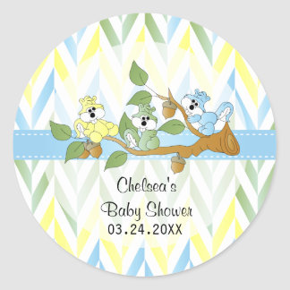 Pastel Squirrel Baby Boy Shower Classic Round Sticker