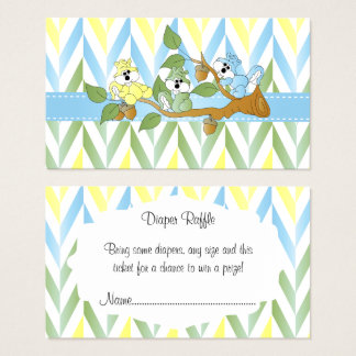 Pastel Squirrel Baby Boy Shower - Diaper Raffle Business Card