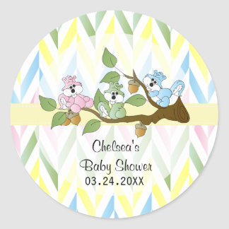 Pastel Squirrel Baby Girl Shower Classic Round Sticker