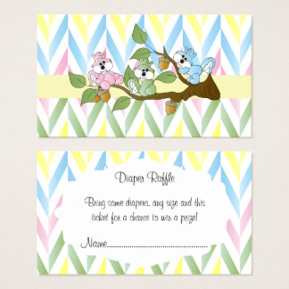 Pastel Squirrel Baby Girl Shower - Diaper Raffle Business Card