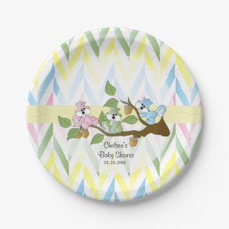 Pastel Squirrel Baby Girl Shower Paper Plate