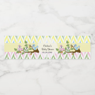 Pastel Squirrel Baby Girl Shower Water Bottle Label