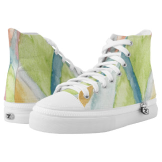 Pastel Stained Glass Hi Top Printed Shoes