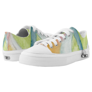 Pastel Stained Glass Lo Top Printed Shoes