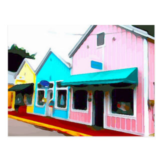 Pastel Stores in Key West Postcard