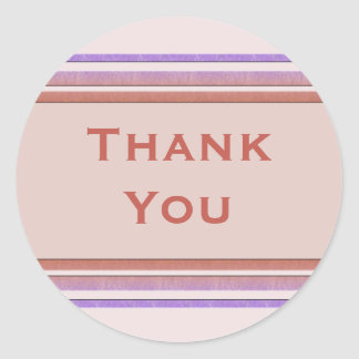 pastel striped Thank You Round Stickers
