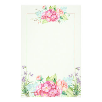 Pastel Summer Flowers and Pink Line Border Stationery