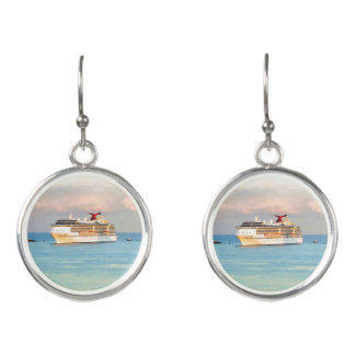 Pastel Sunrise and Cruise Ship Earrings