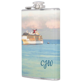 Pastel Sunrise and Cruise Ship Monogrammed Hip Flask
