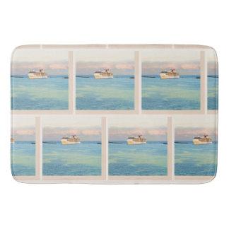 Pastel Sunrise and Cruise Ship Pattern Bath Mat
