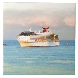 Pastel Sunrise with Cruise Ship Ceramic Tile