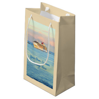 Pastel Sunrise with Cruise Ship Custom Small Gift Bag
