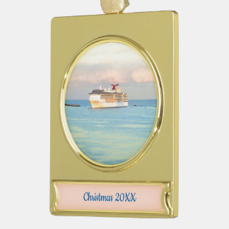 Pastel Sunrise with Cruise Ship Dated Gold Plated Banner Ornament
