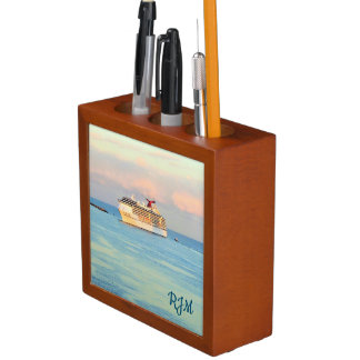 Pastel Sunrise with Cruise Ship Monogrammed Desk Organiser