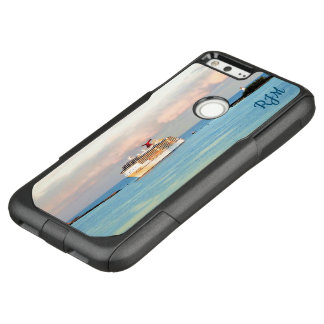 Pastel Sunrise with Cruise Ship Monogrammed OtterBox Commuter Google Pixel XL Case