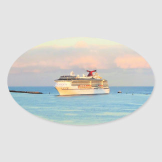 Pastel Sunrise with Cruise Ship Oval Sticker