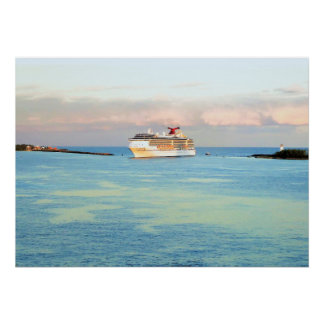 Pastel Sunrise with Cruise Ship Patterned Poster