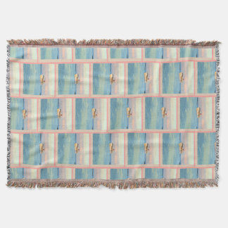Pastel Sunrise with Cruise Ship Patterned Throw Blanket