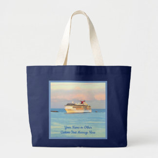Pastel Sunrise with Cruise Ship Personalized Large Tote Bag