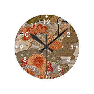Pastel Tangerine Floral Pattern Round Clock