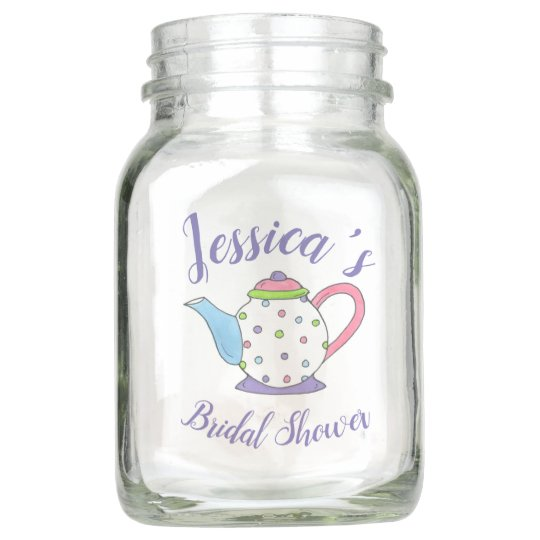 Pastel Teacup Teapot Tea Party Bridal Baby Shower Mason Jar