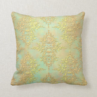 Pastel Teal and Gold Aurora Antiqued Damask Cushion