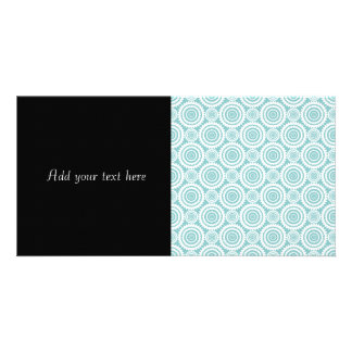 Pastel Teal and White Geometric Pattern Photo Cards