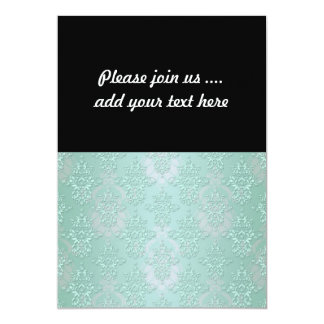 Pastel Teal Blue Green Damask 13 Cm X 18 Cm Invitation Card