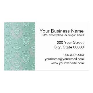 Pastel Teal Blue Green Damask Business Card