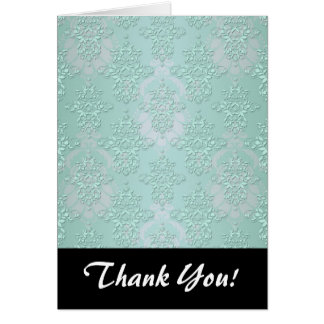 Pastel Teal Blue Green Damask Note Card