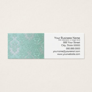 Pastel Teal Blue Green Damask Mini Business Card