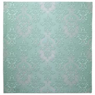 Pastel Teal Blue Green Damask Napkin