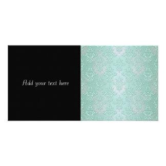 Pastel Teal Blue Green Damask Photo Greeting Card