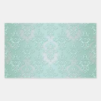 Pastel Teal Blue Green Damask Rectangular Sticker