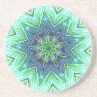 Pastel Teal Blue Star Shaped Mandela Beverage Coasters