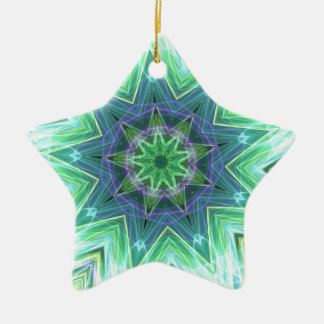 Pastel Teal Blue Star Shaped Mandela Ceramic Star Decoration