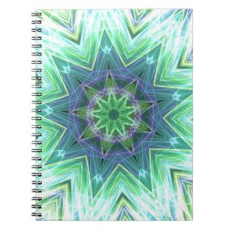 Pastel Teal Blue Star Shaped Mandela Notebook