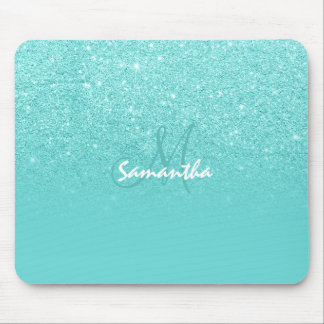Pastel teal faux glitter ombre color block modern mouse pad