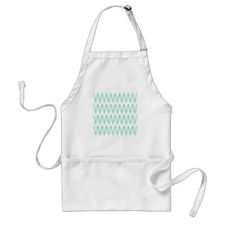 Pastel Teal Zigzag Pattern with Diamond Shapes. Apron