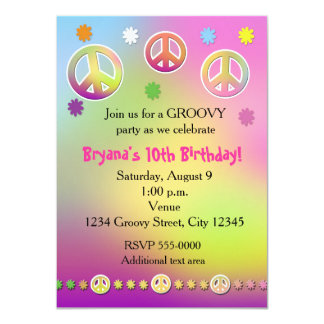 Pastel Tie Dye Groovy Party Invitation