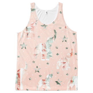 Pastel Tone Elephants Stars Pattern All-Over Print Tank Top