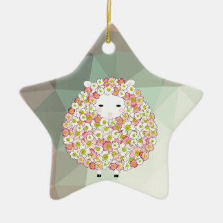 Pastel Tone Flowery Sheep Design Ceramic Star Decoration